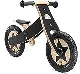 BIKESTAR Mitwachsendes Kinder Laufrad Holz Lauflernrad Kinderrad für Jungen Mädchen ab 2-4 Jahre | 12 Zoll 2 in 1 Kinderlaufrad | Schwarz | Risikofrei Testen