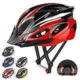RaMokey Fahrradhelm für Erwachsene Herren Damen, EPS-Körper + PC-Schale, MTB Mountainbike Helm mit Abnehmbarem Visier und Polsterung, Verstellbar Radhelm 57-63cm (Rot + Schwarz)