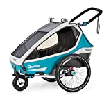 Qeridoo Kidgoo 2 (2020) Kinderfahrradanhänger, Fahrradanhänger 2 Kinder - Petrol
