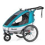 Qeridoo Sportrex 1 (2020) Fahrradanhänger Kinder, 1 Sitzer, Federung - Petrol