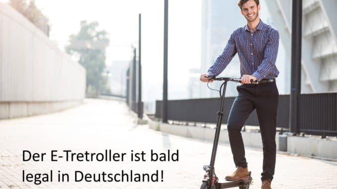 Elektrischer Tretroller auf deutscher Straße