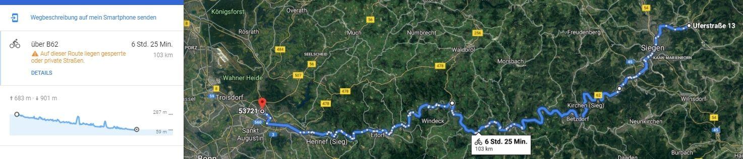 57250 Netphen nach 53721 Siegburg - Google Maps